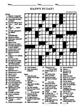 Pi Day Crossword (15 X 15)