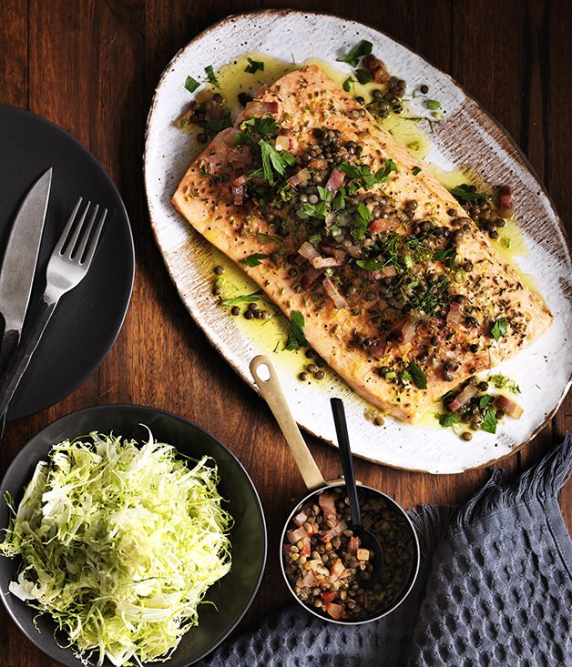 Lentils and bacon are a match made in heaven - here they combine in a warm dressing to be served over a simple roast trout.