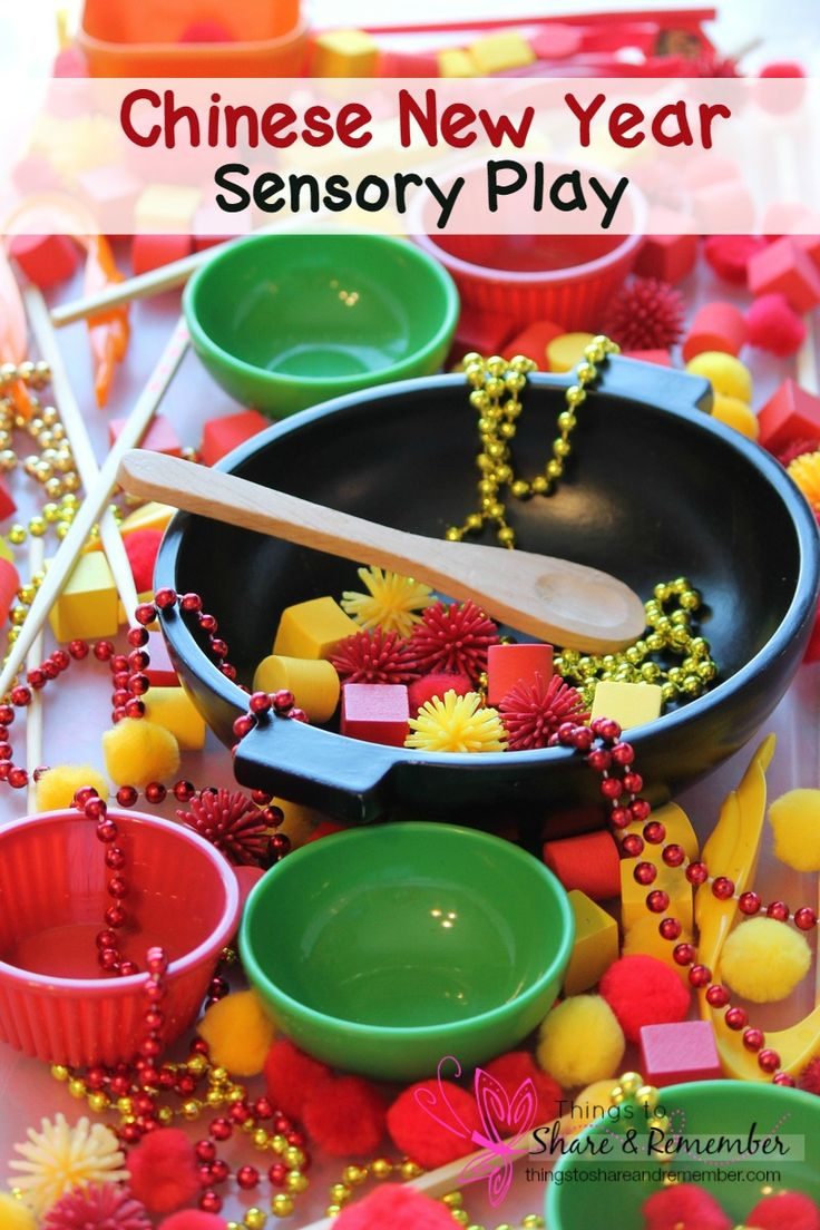 Chinese New Year Sensory Play A bright and festive sensory bin for preschoolers to celebrate Chinese New Year and explore colors, shapes and textures.