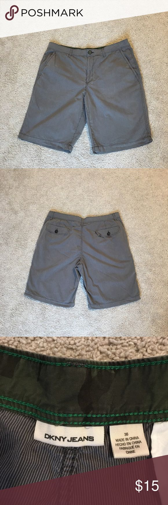 DKNY Men's Shorts DKNY Men's shorts. Size 36. Gray with stripe pattern. Excellent condition! All offers are welcome! Dkny Shorts