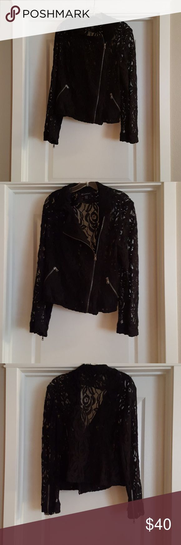 INC Black Lace Jacket INC Black Lace Jacket with zipper front, front zipper side pockets, back zippers on sleeves.  Never worn. INC International Concepts Jackets & Coats Blazers