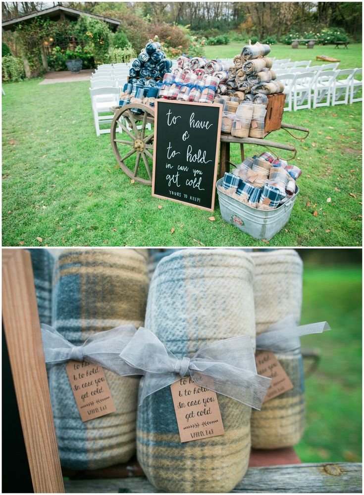 To have and to hold in case you get cold, winter wedding ceremony essentials, plaid blankets for guests // Eileen K. Photography