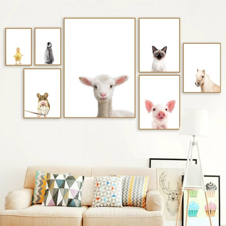 Lindo Oveja Gato Pingüino Pato Cerdo Nórdico Carteles e impresiones Arte de la pared Pintura de la lona Animales Poster Imágenes de la pared Decoración de la habitación de los niños