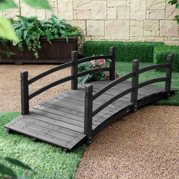 6-Ft Outdoor Wooden Garden Bridge with Handrails in Dark Charcoal Wood Stain
