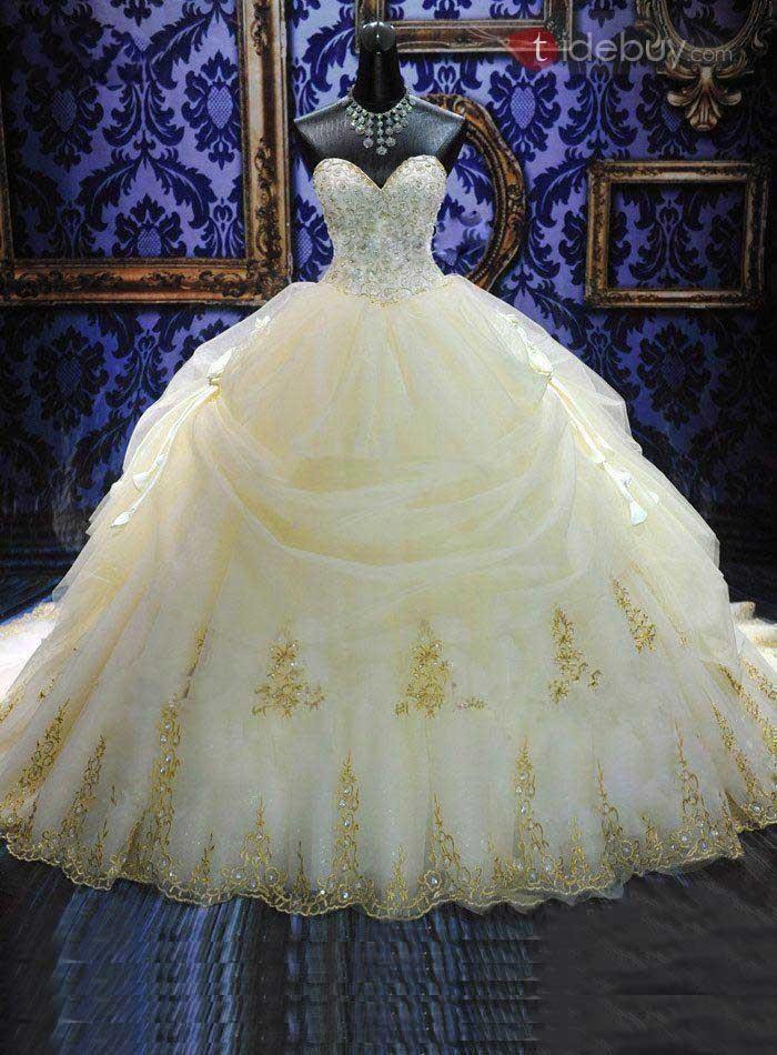 大聖堂ビーズスイートハートカラープリンセスウエディングドレス