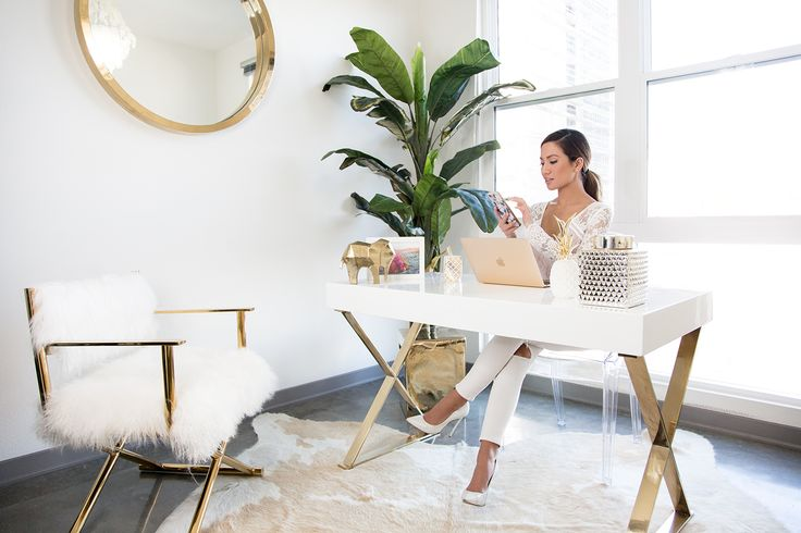 My new office space from Lulu & Georgia and High Fashion Home!! Find all items here  http://www.mywhitet.com/sneak-peak-into-my-new-office/