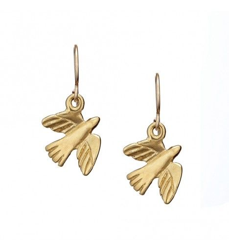 Fly Away With Me Bird Earrings in Gold