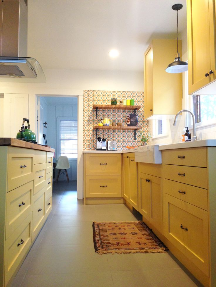 IKEA Kitchen With Shaker Style Cabinet Doors From Semihandmade. Paint From  Farrow And Ball Called U0027Octagon Yellowu0027