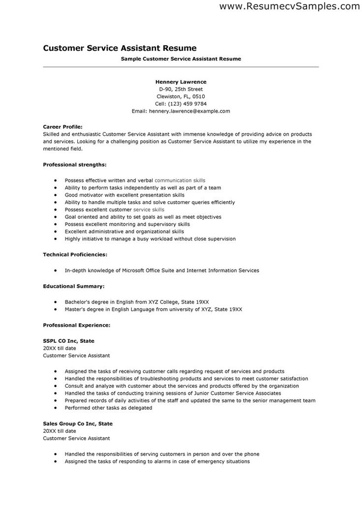 Más de 25 ideas fantásticas sobre Customer Service Resume en - customer service assistant sample resume