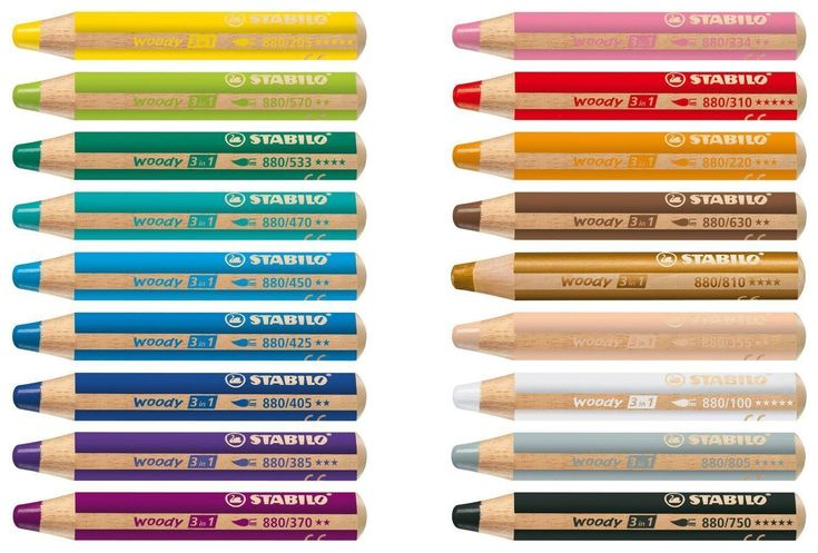 STABILO WOODY 3 in 1 MULTI-TALENTED PENCILS 3 in 1 ... A Coloured Pencil, Watercolour Pencil and Wax Crayon All in 1 Available in 18 Brilliant Colours Available in 3 Pack Sizes: Single Pencil Pack of 3 Pack of 5 Draws: Cardboard, Dar...
