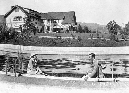 The original Pickfair Estate with the first private swimming pool in LA. Pity it got demolished by a faded actress.