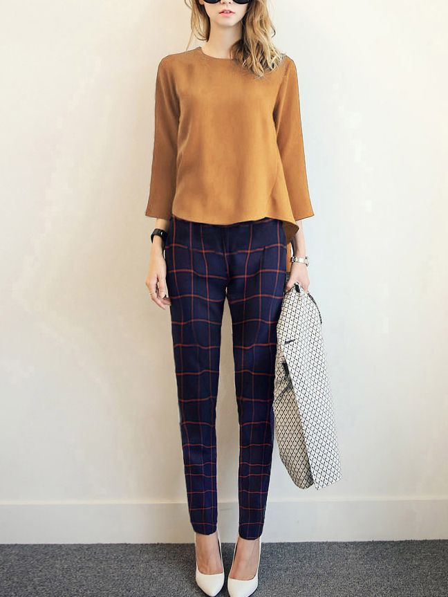 Dip Hem Brown Top With Plaid Pant