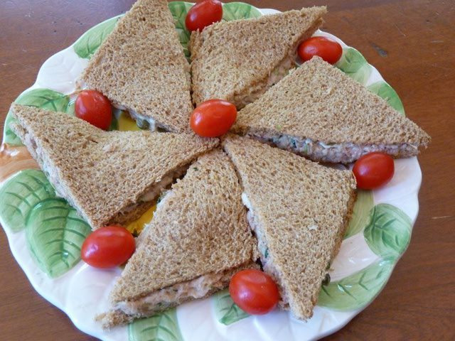 Recipe for tuna salad with capers tea sandwiches. less mayo and use  tuna in water