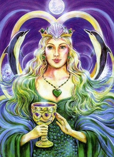 Queen of Cups by Pamela Matthews (Aura-Soma New Aeon Tarot)