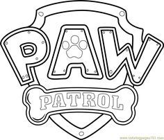 Paw Patrol Logo printable coloring page for kids a…