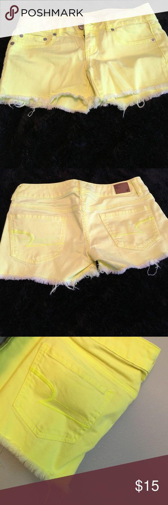 American Eagle neon yellow shorts American Eagle neon yellow shorts. Size 2 American Eagle Outfitters Shorts Jean Shorts