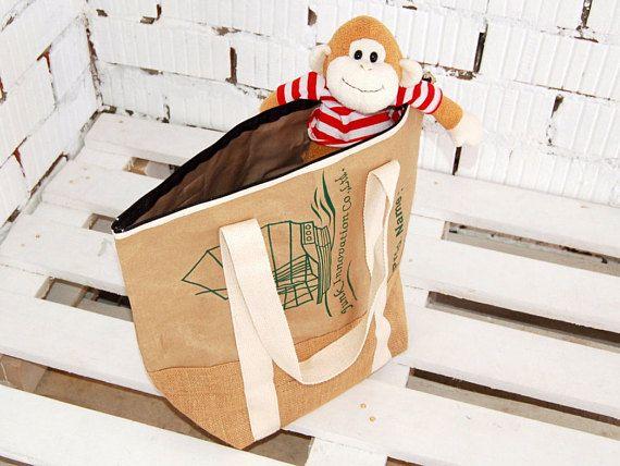 Burlap tote bag grocery tote bag school bag book bag market
