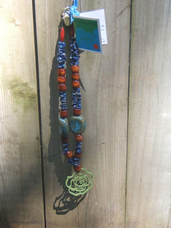 Green flower necklace with lapis crysal and wood. by EarthWater, $25.00