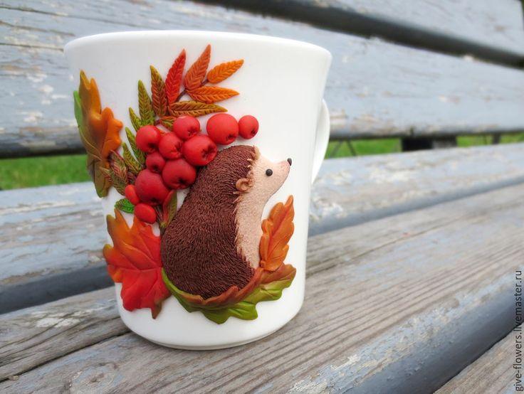 Купить Кружка Ёжик в осеннем лесу с декором из полимерной глины - коричневый, Осенние цвета, Ёжик