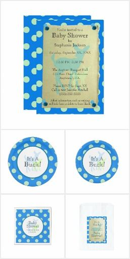 Blue Doe and Green Fawn Polka Dots Baby Shower