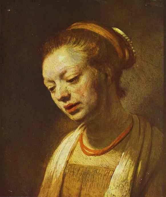 Рембрандт. Молодая женщина с красным ожерельем. 1645. Нью-Йорк. Музей Метрополитен.