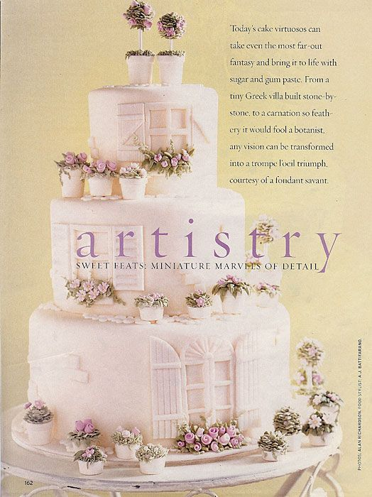 I just love this cake from Gateau Inc. The details are so gorgeous! Posted in Brides Magazine, 2003.