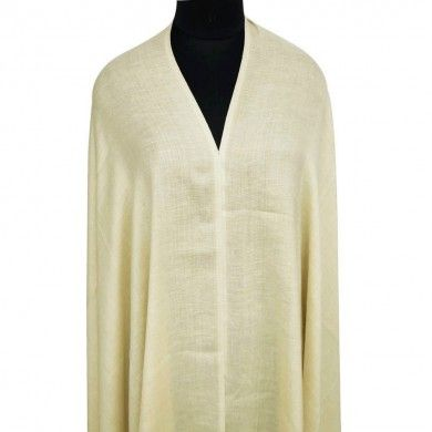 Large Off White Plain Wool Blend Shawl Woolen Men Stole Scarf India