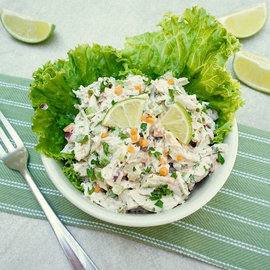Cilantro Chicken Salad has lots of crunchy vegetables, a hint of lime and the bo…