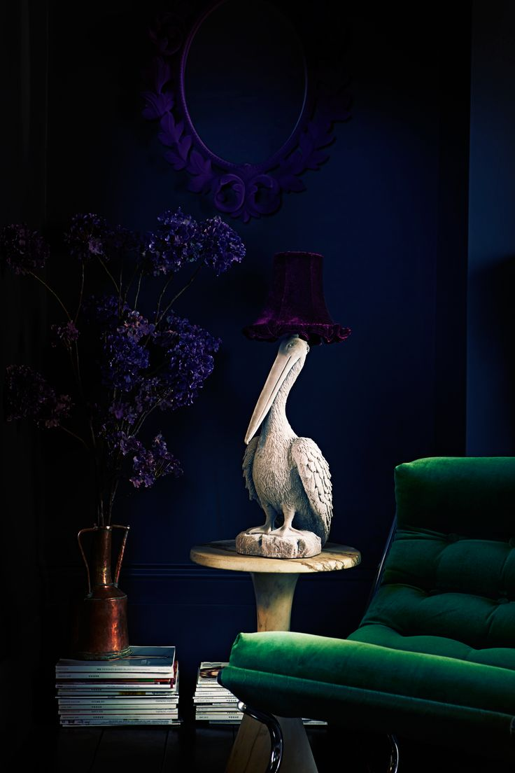 Green, Abigail Ahern lamp and flocked mirror too. So good.
