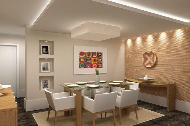 CASA 01 - DETALHE P O LAVABO SOCIAL-NICHOS NA PAREDE EM GESSO ACARTONADO / RODAPÉ / ILUMINAÇÃO DA PAREDE REVESTIDA (só que em papel de parede) Salas modernas de Estar e Jantar!