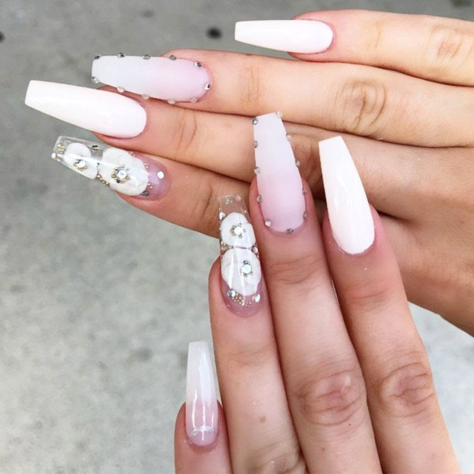 The Most Stylish Ideas For White Coffin Nails Design White Nail Designs Coffin Nails Designs Nail Shapes