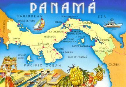 Este es un mapa de Panamá, junto con sus principales ciudades. Incluyendo Santiago, La Palma y Penonome.