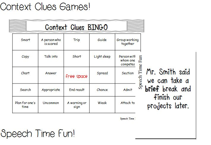 Speech Time Fun: Context Clues Games!  BINGO & Jeopardy!