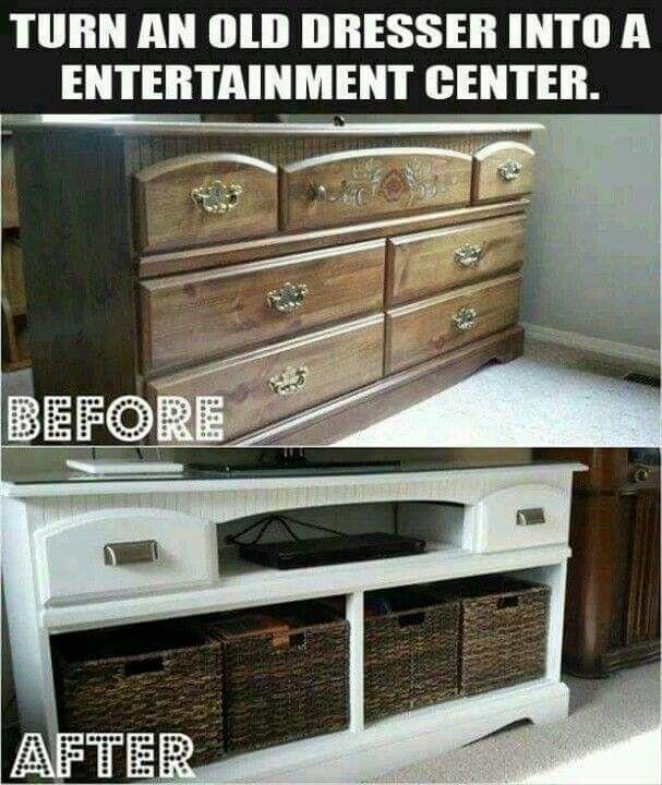 Old dresser = entertainment center                                                                                                                                                      More