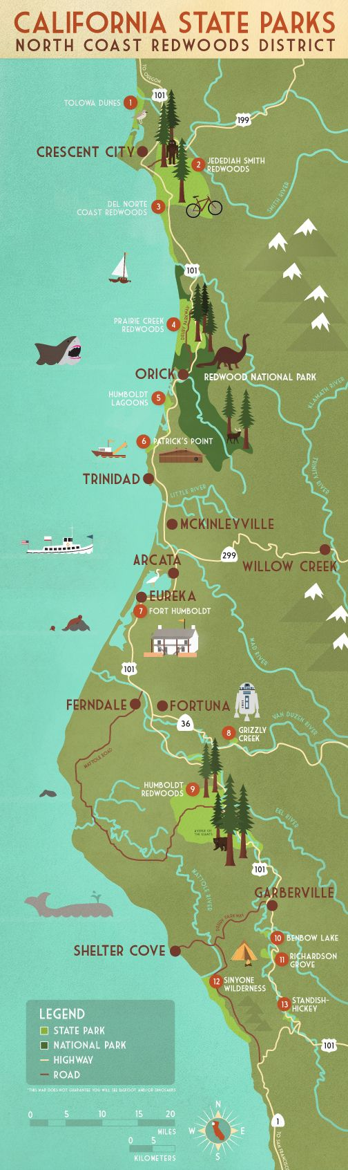 North Coast CA State Parks map and