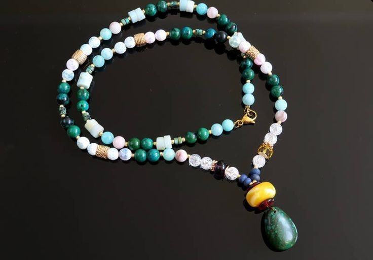 Long necklace natural stones by AnnaZukowska on Etsy