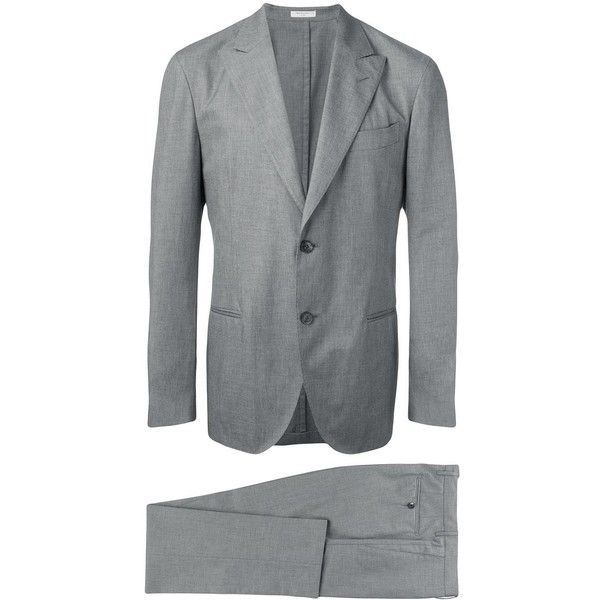 Boglioli Two-piece Suit ($637) ❤ liked on Polyvore featuring men's fashion, men's clothing, men's suits, mens grey suits, mens gray suit, mens two piece suits, men's 2 piece suits and mens cotton suit