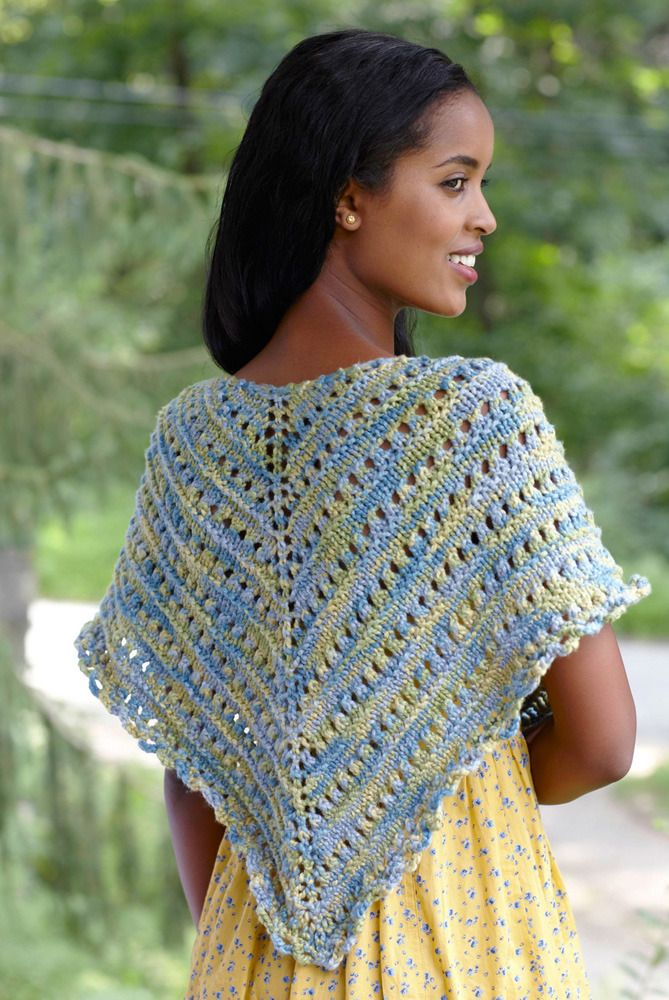 Sun And Sea Shawl in Lion Brand Nature's Choice Organic Cotton- L0370 | Crochet Patterns | LoveCrochet