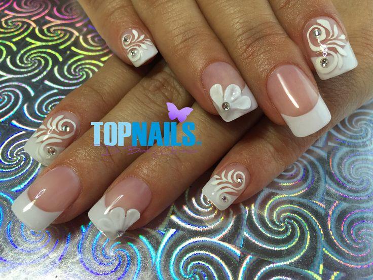 Uñas Acrílicas de Novia con decorado 3D y Swarovski (Acrylic nails Bride with 3D decorated and Swarovski)  Hazte Fans o Me Gusta  en https://www.facebook.com/topnails.cl   www.topnails.cl ☎94243426, saludos Beatriz