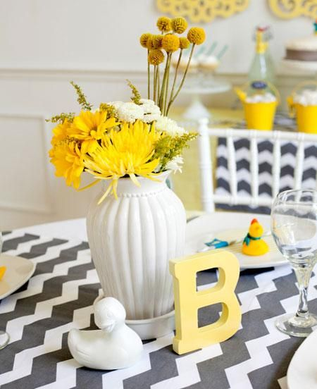 DIY Centerpiece For A Ducky Themed Baby Shower