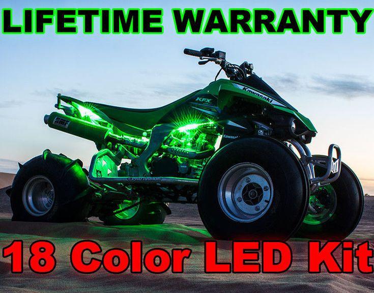 18 Color Changing Neon Bayou KFX Mule ATV UTV Quad 4 Wheeler 12pc Led Light Kit