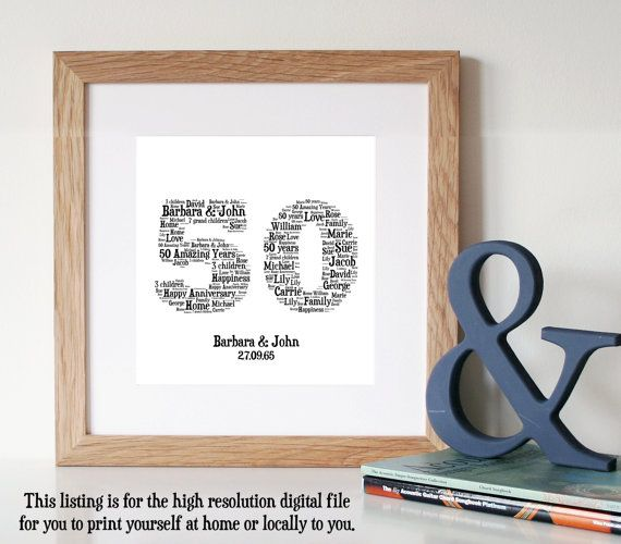 33 best 50th anniversary ideas images on pinterest anniversary personalised 50th anniversary gift word art gold anniversary 50th wedding anniversary gifts gifts for parents anniversary card solutioingenieria Image collections