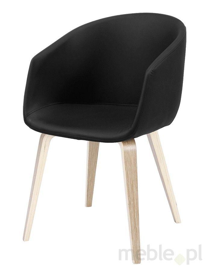 Krzesło NORA czarne, skóra ekologiczna 22181-1, Interstil - Meble
