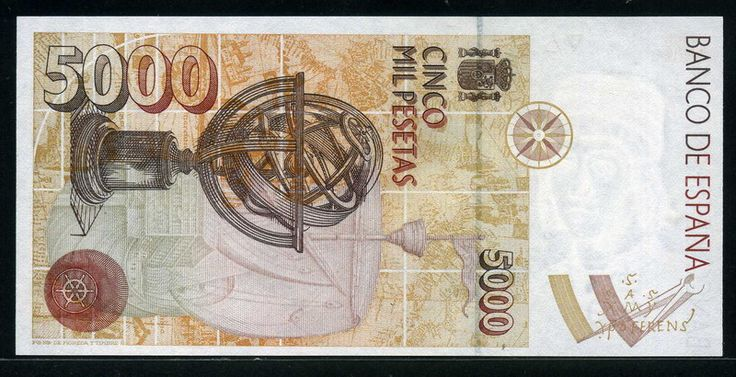 Spain currency 5000 Pesetas banknote of 1992, Christopher Columbus. -  Reverse: Astrolabe on an image of the Nao Santa Maria, a steering wheel and in the white margin, a sailor's compass and a Greek and Latin characters representing the name of Christopher Columbus. As shown in matching front and back displays a compass rose as watermark head of Martin Alonso Pinzon and the symbol of the V Centenary of the Discovery. Printed by Fábrica Nacional de Moneda y Timbre, Madrid.