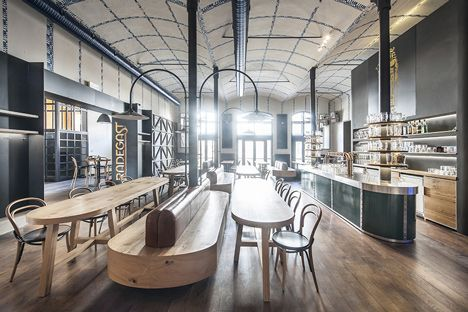 || Radegast Pilsner Urquel by iostudio. Timber and banquette seating. Blue and white checked pattern on the ceiling