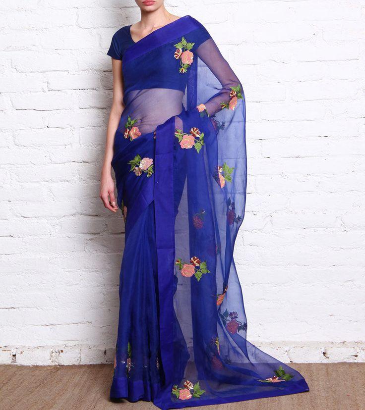Royal Blue Sequined Organza Saree
