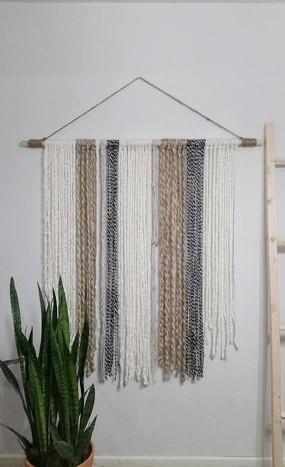 Extra Large Yarn Tapestry Yarn Wall Hanging Ivory Black And Beige 4ft Beige Black Extra Hanging Ivory L Yarn Wall Hanging Yarn Wall Art Diy Tapestry