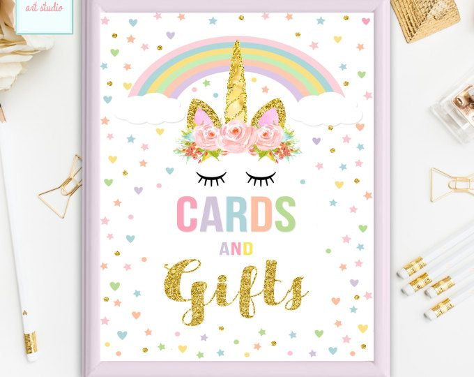 Unicorn Party Sign, Unicorn Cards and Gifts Sign, Birthday Sign,  Unicorn Baby Shower Table Sign, Printable Party Sign, INSTANT DOWNLOAD