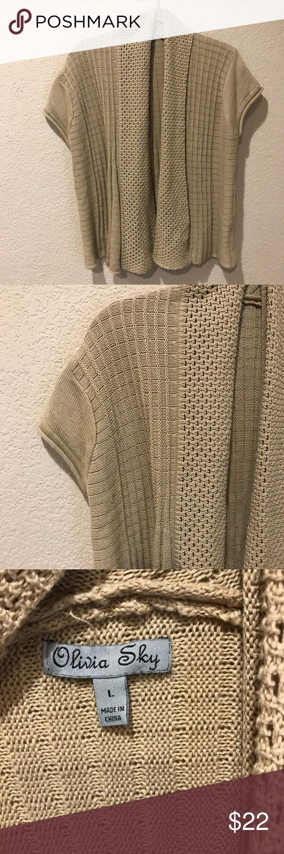 Tan Olivia Sky cardigan Good used condition!  Closet staple.  Add to a bundle and I will send you an offer Olivia Sky Sweaters Cardigans