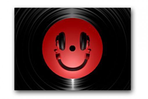Tableau disco Smiley rouge 80x55 cm - 55 €